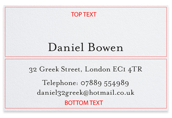 Bowen personalised letterpress business cards