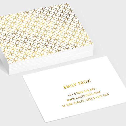 Bubbles gold hot foil business cards