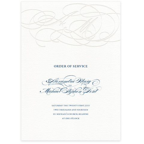 Burgues letterpress wedding order of service