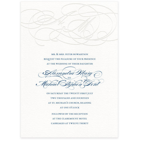 Burgues letterpress wedding invitation