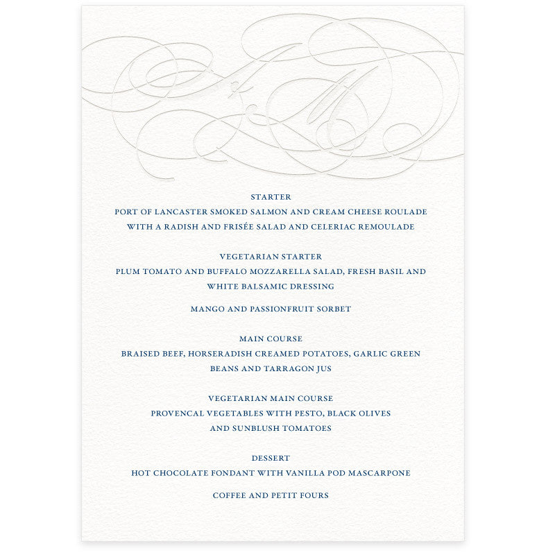 Burgues letterpress wedding menu