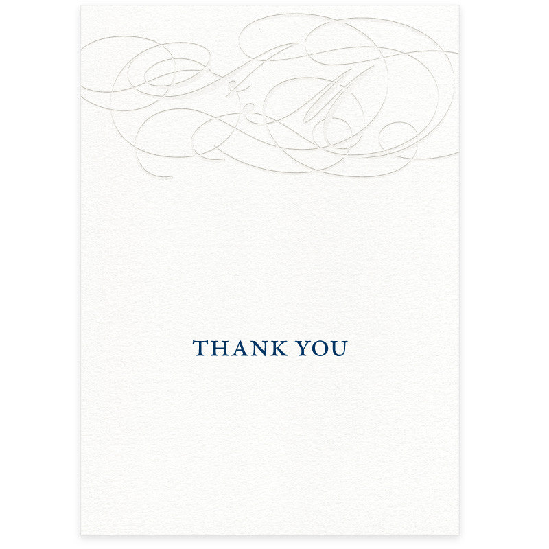 Burgues letterpress wedding thank you card