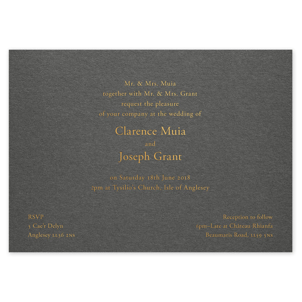 Clarence hot foil wedding invitation