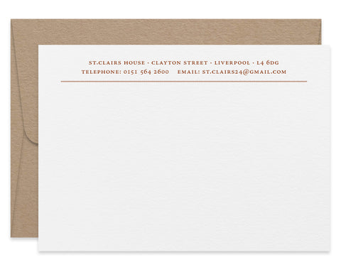 Diamond Line letterpress correspondence cards