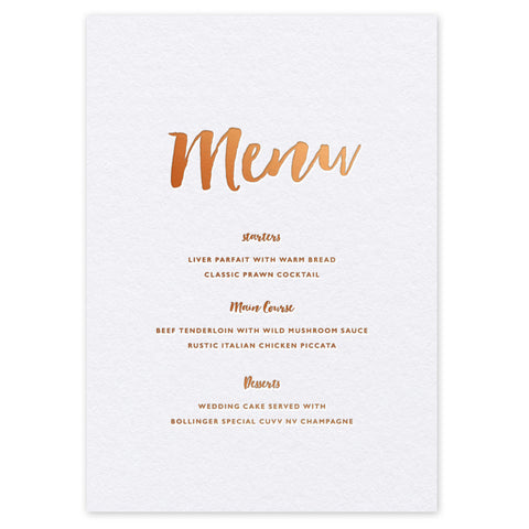 Elisa hot foil wedding menu