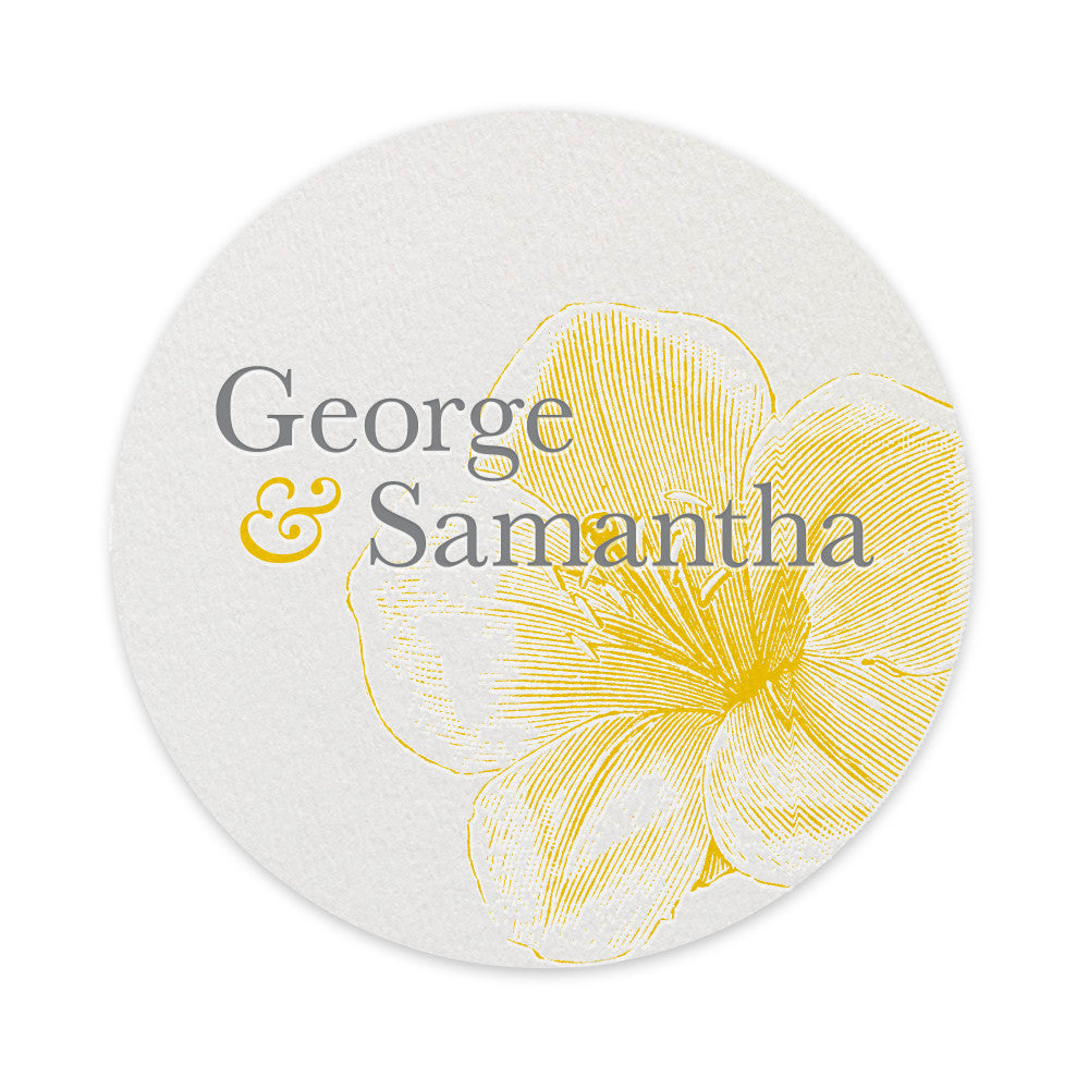 Fleur letterpress printed drinks coaster