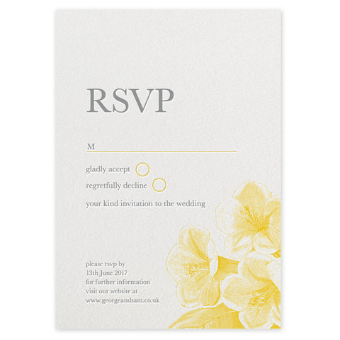 Fleur RSVP letterpress wedding stationery printed in the UK
