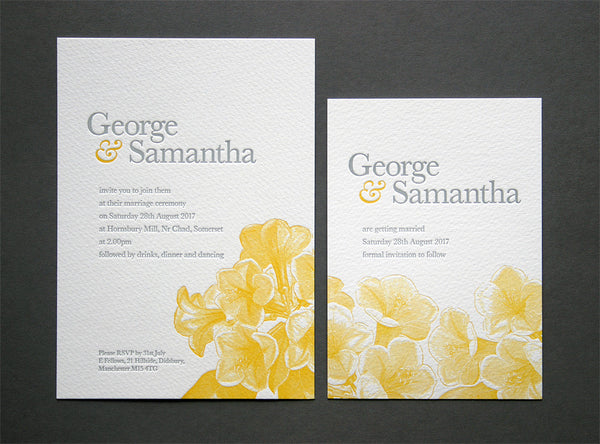 Fleur letterpress wedding invitation