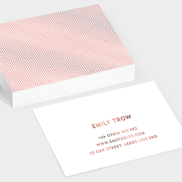 Gem rose gold hot foil business cards