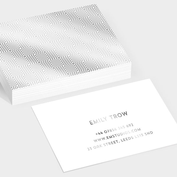 Gem silver hot foil business cards