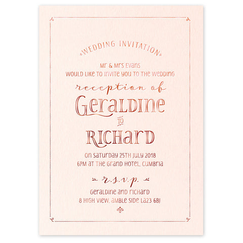 Geraldine hot foil wedding invitation