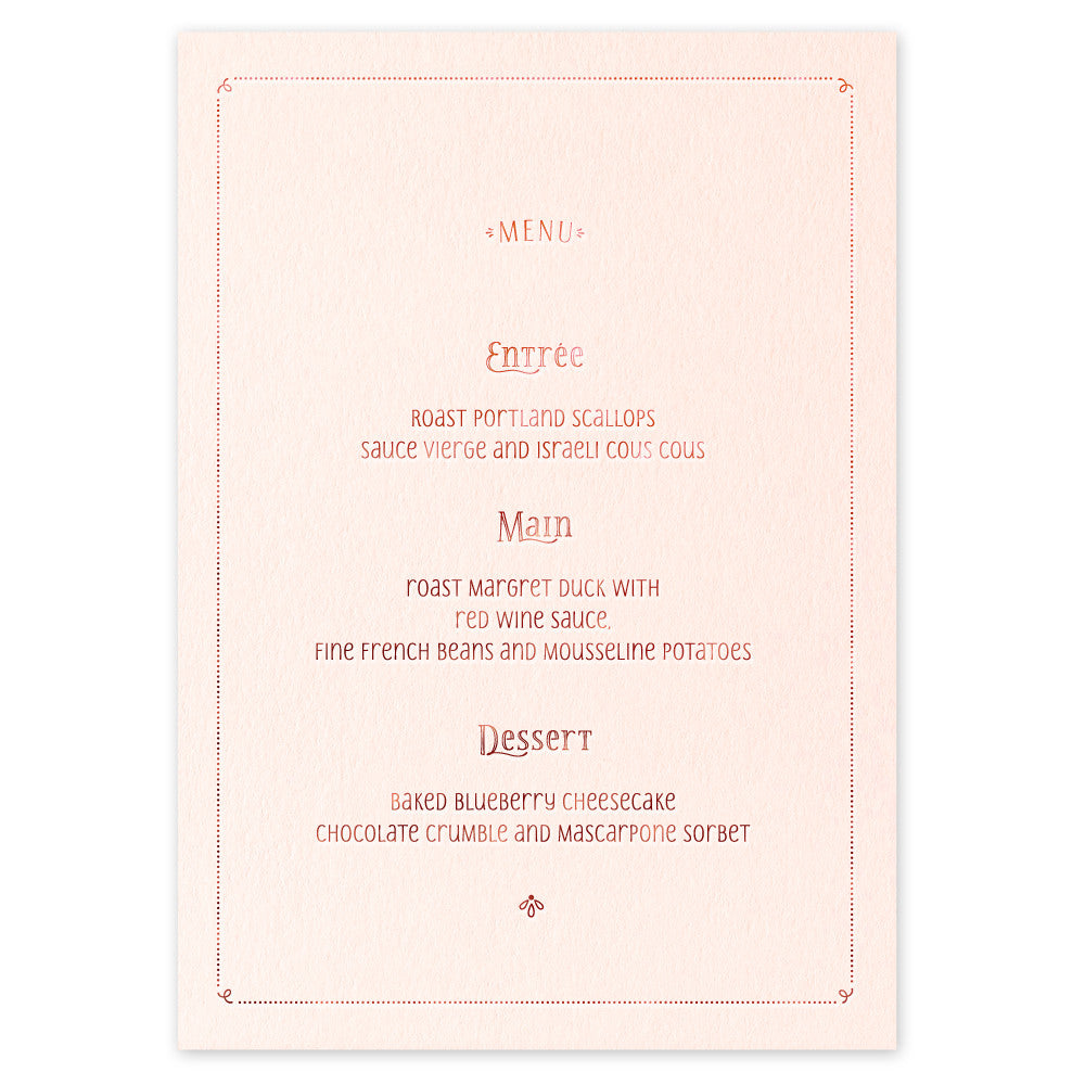 Geraldine Menu - hot foil wedding stationery