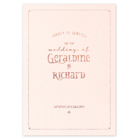 Geraldine hot foil wedding stationery - Order of Service