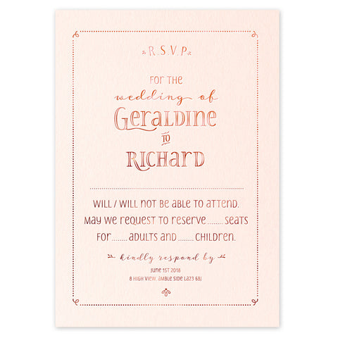 Geraldine RSVP - calligraphy hot foil wedding stationery