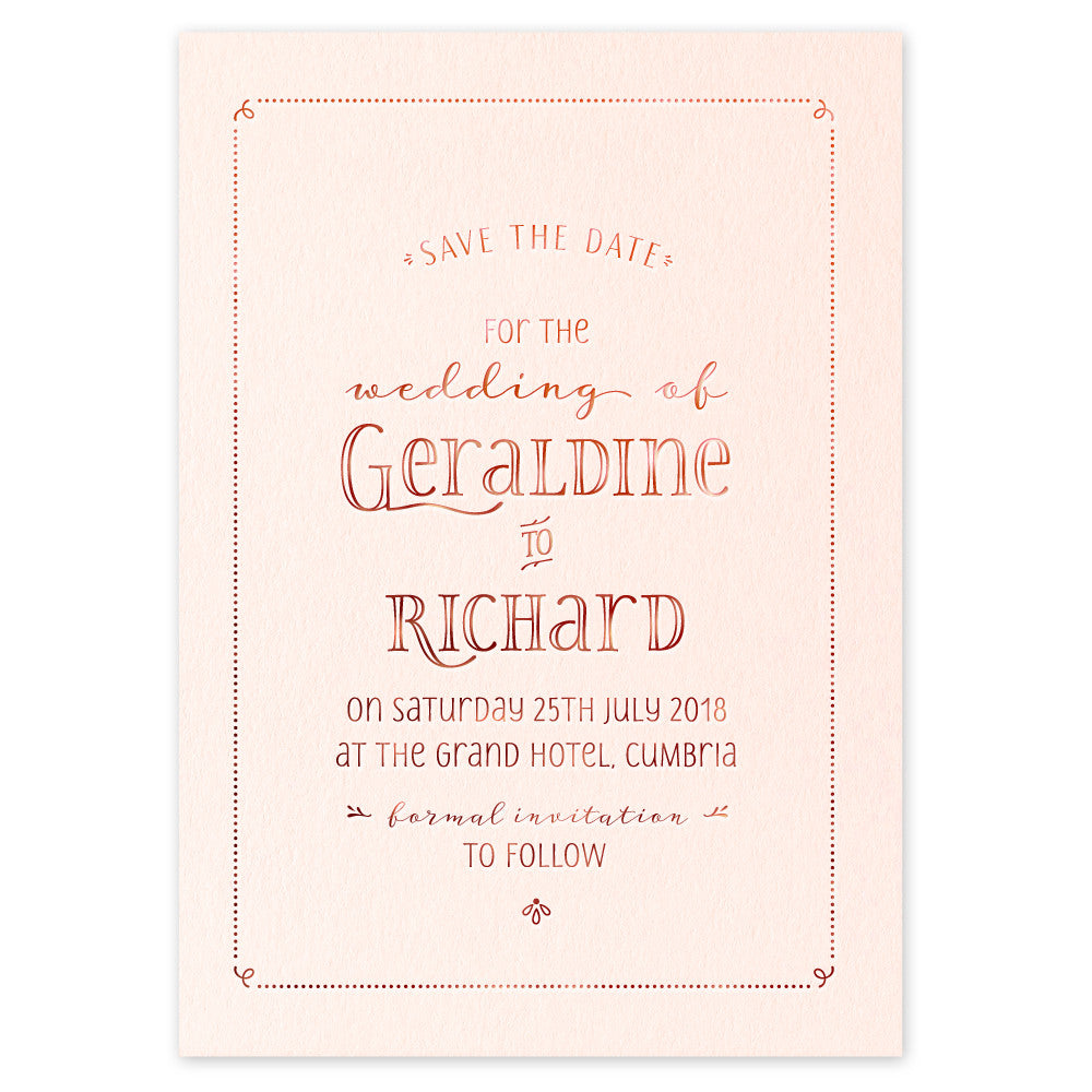 Geraldine hot foil Save the Date card