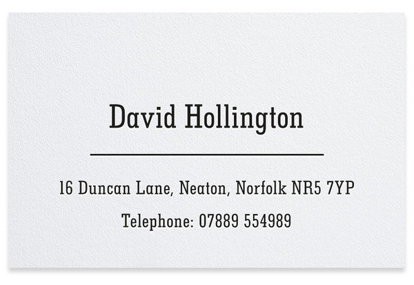 Hollington personalised letterpress business cards