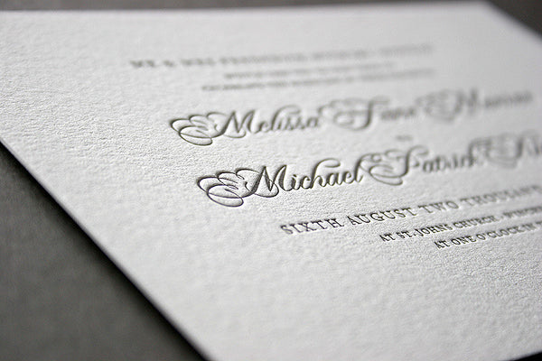 Monroe letterpress wedding invitation