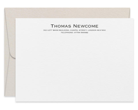 Newcome personalised letterpress stationery