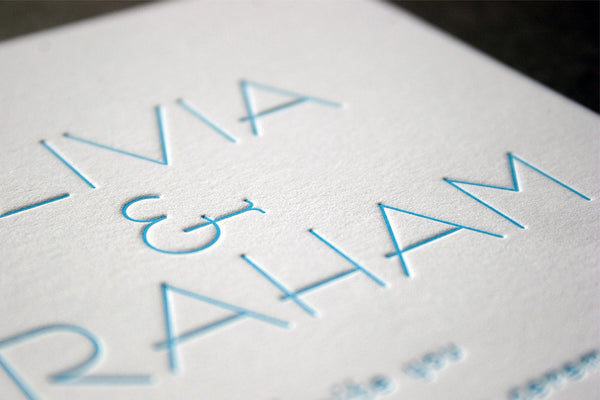 Olivia letterpress invitation and RSVP