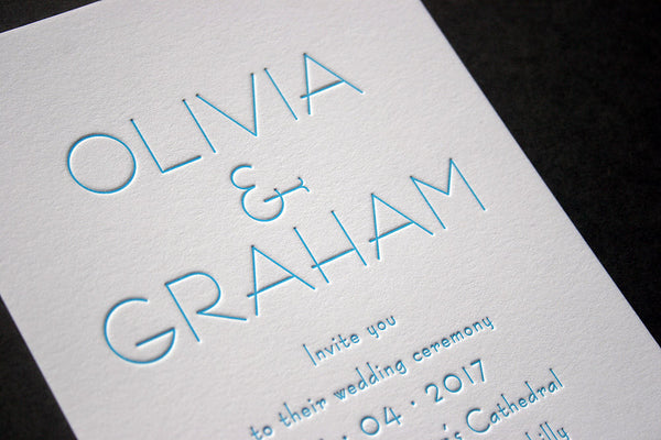 Olivia letterpress printed evening invitation