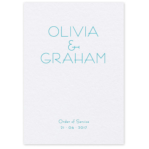 Olivia Order of Service letterpress wedding stationery