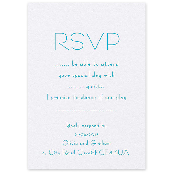 Olivia RSVP letterpress wedding stationery