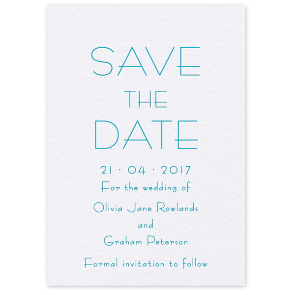 Olivia Save the Date letterpress wedding stationery printed in the UK