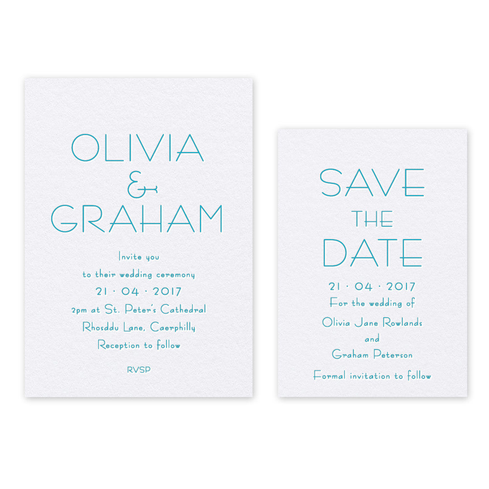 Olivia letterpress invitation and Save the Date