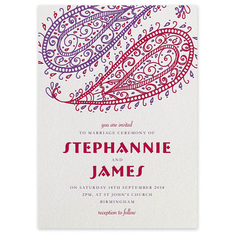 Paisley Indian themed letterpress wedding invitation