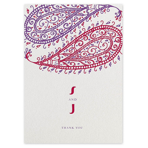 Paisley letterpress thank you cards