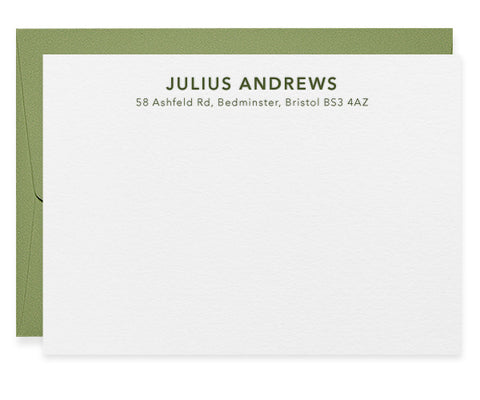 Pine personalised letterpress correspondence cards