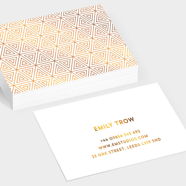 Prism copper hot foil business cards