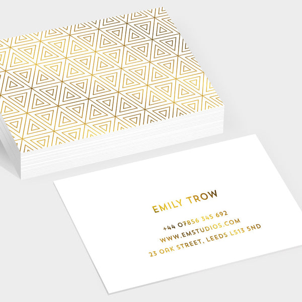 Prism gold hot foil business cards