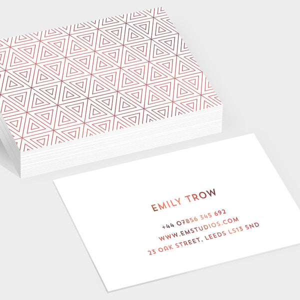 Prism rose gold hot foil business cards