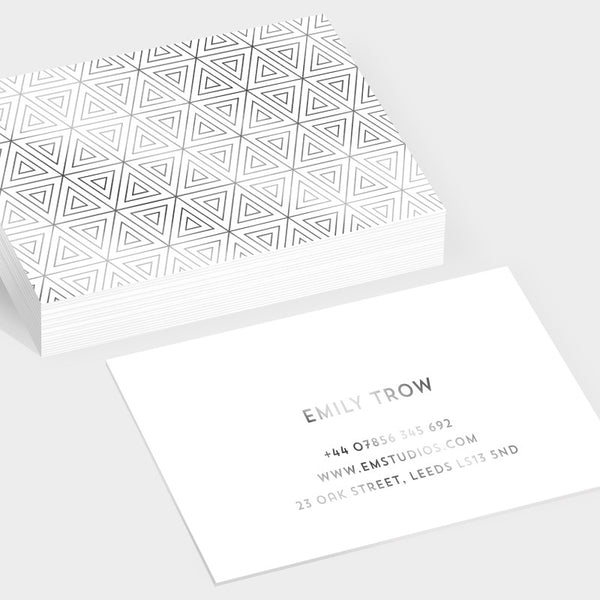 Prism silver hot foil business cards
