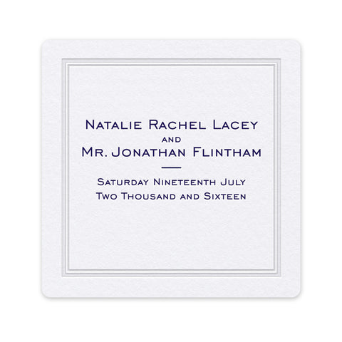 Pristine Coaster - hot foil and letterpress wedding stationery