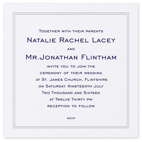 Pristine letterpress and hotfoil wedding invitation
