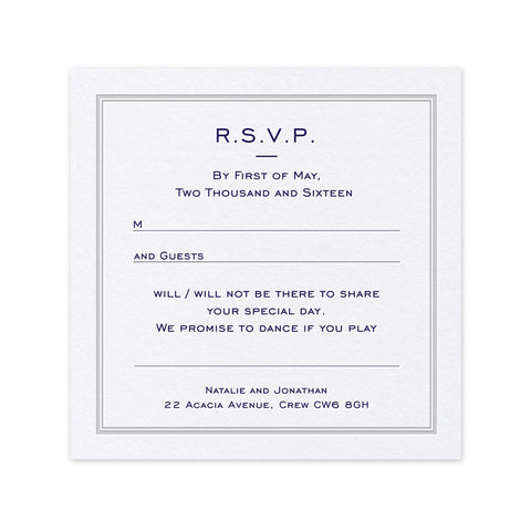 Pristine letterpress and hotfoil wedding RSVP