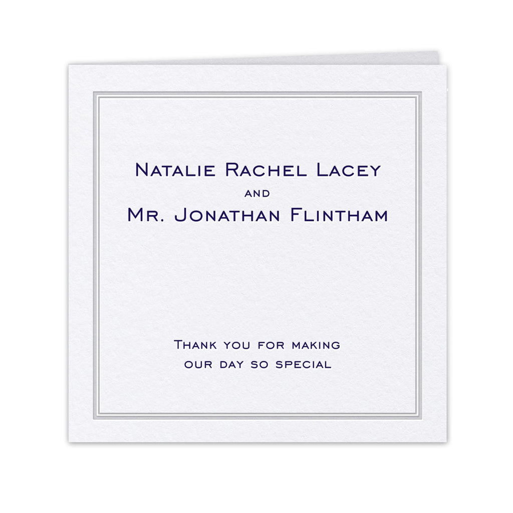 Pristine Thank You Card - hot foil and letterpress wedding stationery