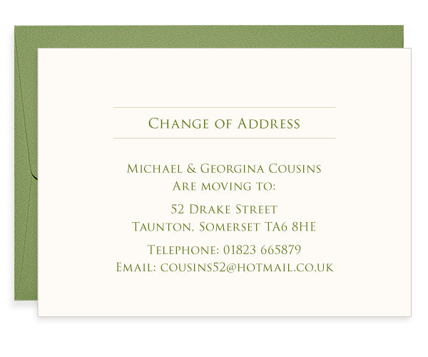 Roman Leaf letterpress change of address cards