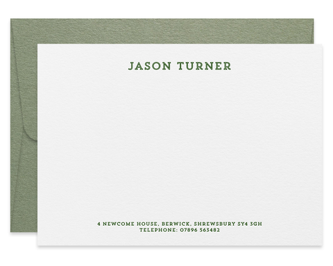 Turner personalised letterpress correspondence cards
