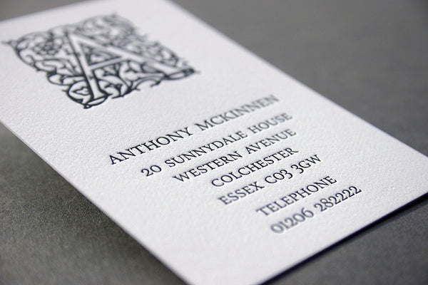 Arabesque letterpress business card