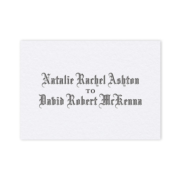 Ashton letterpress place card