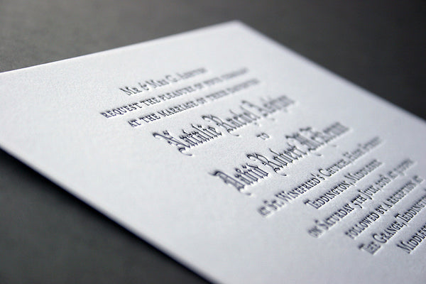 Ashton letterpress menu