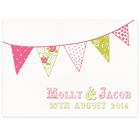 Summer bunting letterpress wedding invitation