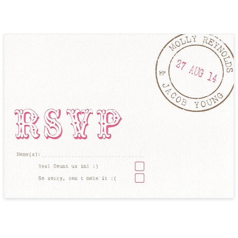 Bunting letterpress wedding stationery RSVP