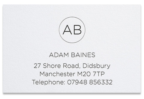 Baines letterpress business cards