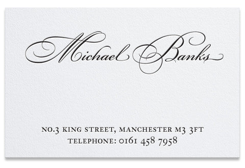Bickham lettepress business card