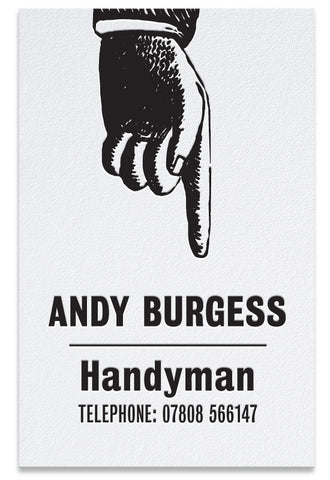 Pointing hand letterpress business card