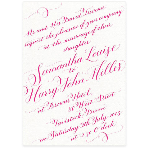 Calligraphy letterpress wedding stationery